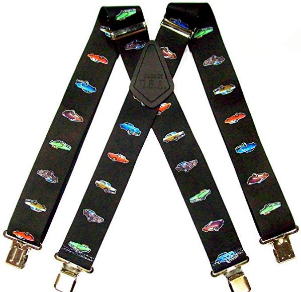 Mechanics Classic Vintage Car Pattern for Trouser Work Braces Black with Clips