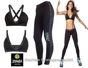 Zumba 2pc.set!cosmic Long Leggings Women's Clothing Orbital Crisscross Bra Top Rare-elitezwear Activewear