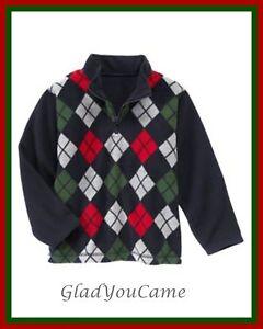NWT-Gymboree-sz-5-6-SNOW-CHILLIN-Navy-Blue-Red-Argyle-Fleece-Pullover-Sweater