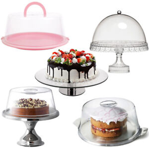 Cake-Display-Stands-Box-Domes-Cover-Pedestal-Plate-Cupcake-Lid-Dessert-Kitchen