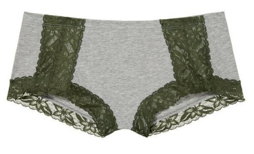Victoria Secret PINK Lace Trim Boyshort Heather Grey w// Olive Green Lace sz L