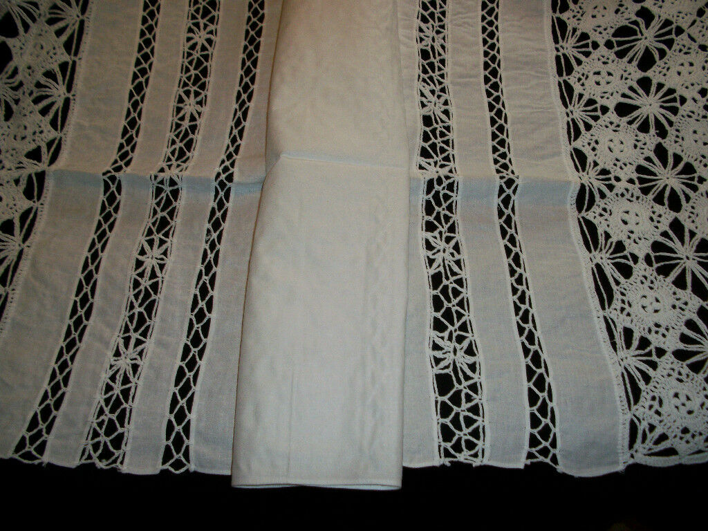 Vintage Hand Crochet & Lin Nappe RUNNER BLANC Taille 21  X 55  Pouces