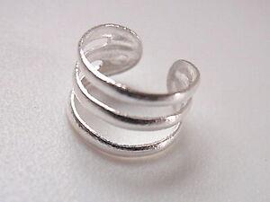 Triple Plain Band Ear Cuff Earring Sterling Silver Corona Sun Jewelry