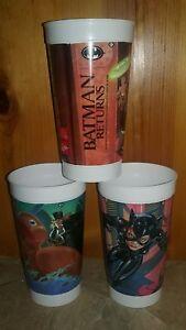 Coke 1992 Batman Returns McDonalds Plastic Cup Set of 6 With Lids