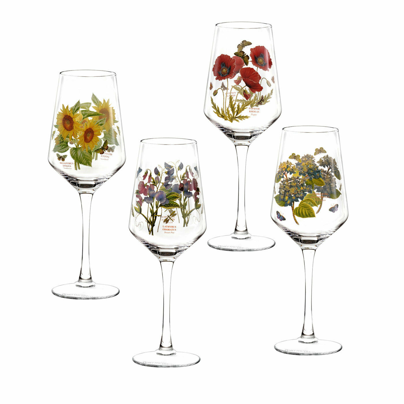 Portmeirion Set of 4 Botanic Garden Wine Glasses Floral Decorated Stemware Glass