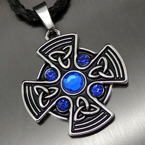 Celtic sapphire blue sun cross pewter pendant free 20 necklace pp image is loading celtic sapphire blue sun cross pewter pendant free aloadofball