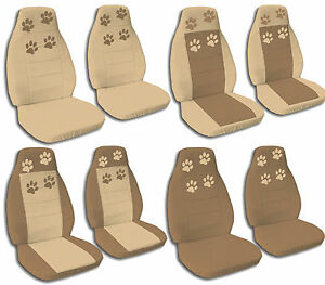 Front Rear Brown Amp Tan Paw Print Jeep Wrangler Seat Covers