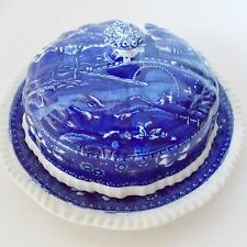 RARE ANTIQUE SPODE BLUE TOWER COVERED BUTTER DISH COVER BLUE WHITE SPODE TOWER