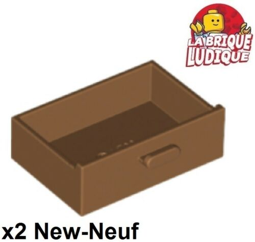 Lego 2x Container Cupboard 2x3 Drawer tiroir poignée medium dark flesh 4536 NEUF