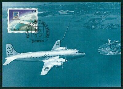 Norwegen Mk 1997 Skymaster Plane Statue Of Liberty Maximumkarte Mc Cm En84