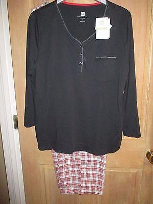 NEW KAREN NEUBURGER 1X Pajamas L/S PJ's LONG PANTS $66 Retail Black Red Plaid