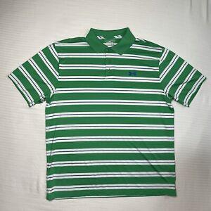 Under Armour Heat Gear Mens XL Polo Golf Shirt Green White Blue Striped Loose