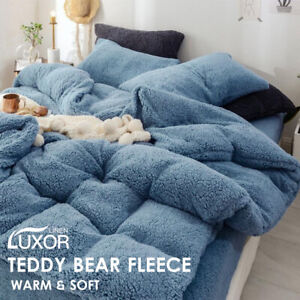 Super Warm Teddy Bear Fleece Thermal Quilt Doona Duvet Cover Set All Size Blue