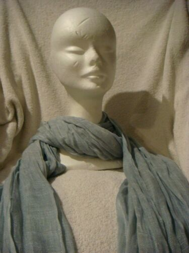 Soft Long cotton Scarf in pale  grey