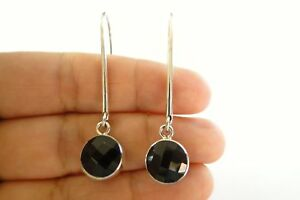 Round-Black-Onyx-Long-Dangle-Drop-925-Sterling-Silver-Earrings