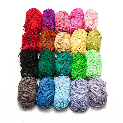 New 20 Pack Mixed Colours Quality Ply Knit Knitting Balls of Yarn Wool Craft