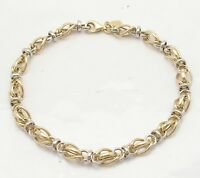 Status Link Bracelet Real 14k Yellow White Twotone Gold Sizes From 6 To 8 1/2