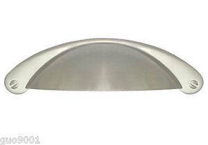 """New Satin Nickel Brushed Nickel Kitchen Bathroom Cabinet Cup Pull 3/"""" 76MM"""