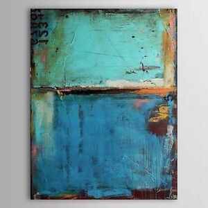 MODERN-ABSTRACT-HUGE-OIL-PAINTING-Vintage-Blue-Color-CANVAS-No-Framed