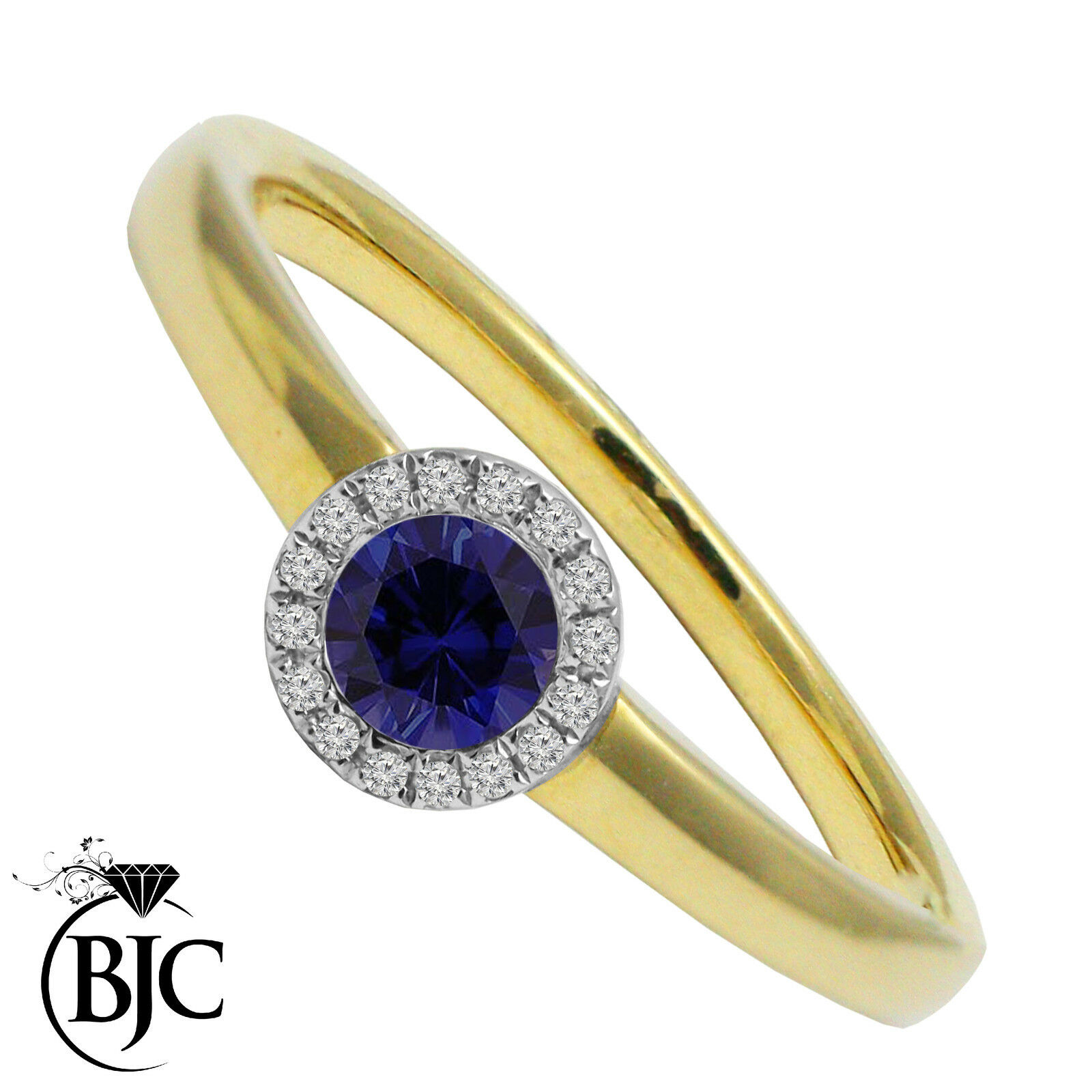 BJC® 9ct Yellow gold Sapphire & Diamond cluster size N engagement dress ring R59