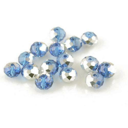 Czech Crystal Glass Faceted Rondelle Beads 8x10mm Blue//Silver 70 Pcs Art Hobby
