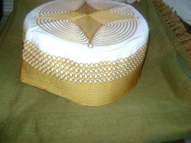 GOLDEN AFGHAN HAT CAP KUFI PAKISTAN embroidery gold kufi PRAYER HEAD DRESS