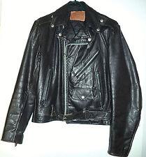 Vintage Men's Excelled Black Leather Brando Styled Biker Jacket Motorcycle Small