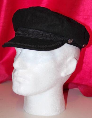 BLACK BRETON STYLE TRADITIONAL GREEK FISHERMAN MARINER FIDDLER CAP