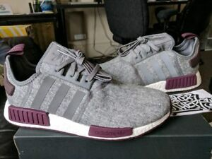 Adidas NMD R1 Runner Nomad Boost Burgundy Grey Maroon Wool Exclusive ... 3366d9a33645