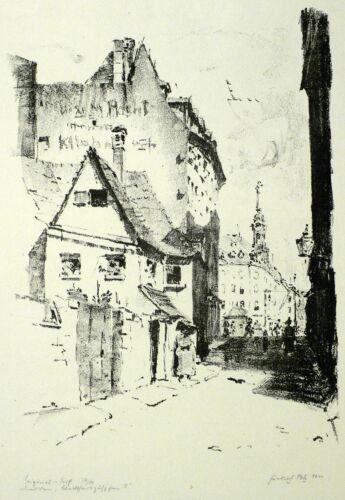 DRESDEN - Blick zum Neustädter Rathaus - Friedrich Pelz - Lithografie 1920
