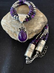 Navajo-Pearls-Sugilite-Bead-3S-Sterling-Silver-Necklace-Pendant-Set-21in-739