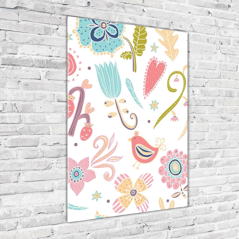 Wand-Bild Kunstdruck aus Acryl-Glas Hochformat 70x100 Pflanzen Vogel