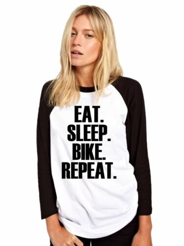 Eat Sleep Bike Repeat Baseball Top Cyclist Gift Base Ball Tee Girls Shirt
