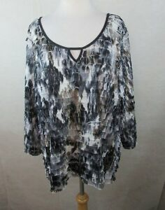 CATO-22-24-3X-WOMENS-PLUS-SIZE-SHIRT-TOP-BLOUSE-TIERED-ANIMAL-PRINT-SCOOPED-NECK