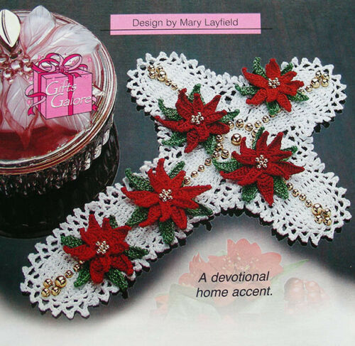 Crochet Pattern Only ~ Beaded Cross with Poinsettias Doily ~ Lovely Display