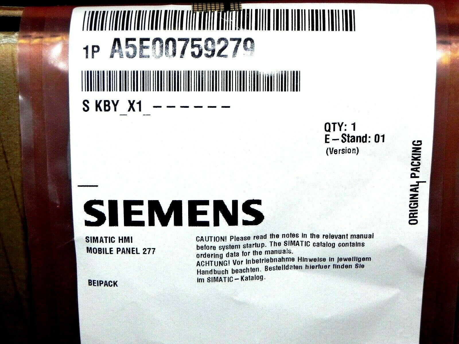 NEW For SIEMENS Touch Screen MOBILE PANEL 277 6AV6645-0CA01-0AX0 #HD38 YD