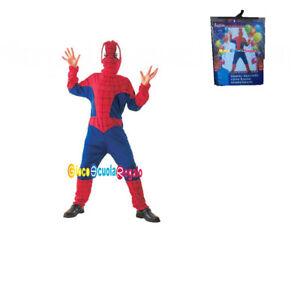 a basso costo vendita calda nuovi prezzi più bassi Dettagli su Costume Travestimento Carnevale Spiderman Uomo Ragno Bambino  Anni 4/6 6/8 10/12