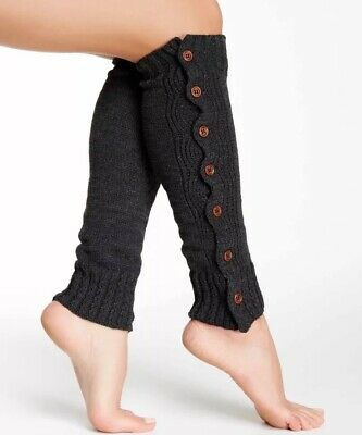 Punctual ?.nwt Steve Madden Button Cozy Leg Warmers One Size Charcoal Grey Bxs Durable Modeling