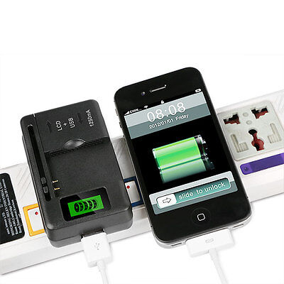 LCD Universal Indicator Battery Charger With USB Port For Cell Phone Camera