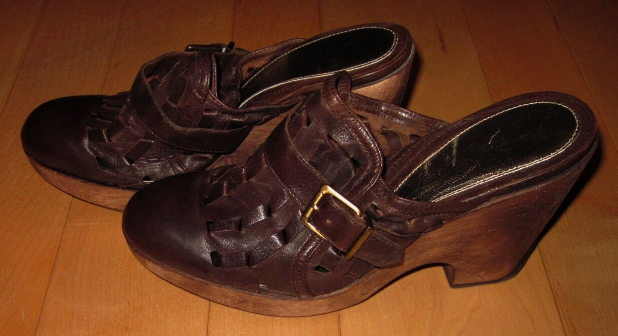 Kenneth Cole donna Marroneee Leather Stacked Heels Slide Weave Out 8.5 Made Brazil