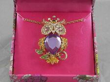 Betsey Johnson Goldtone Purple Crystal Owl Removable Pin Pendant Necklace