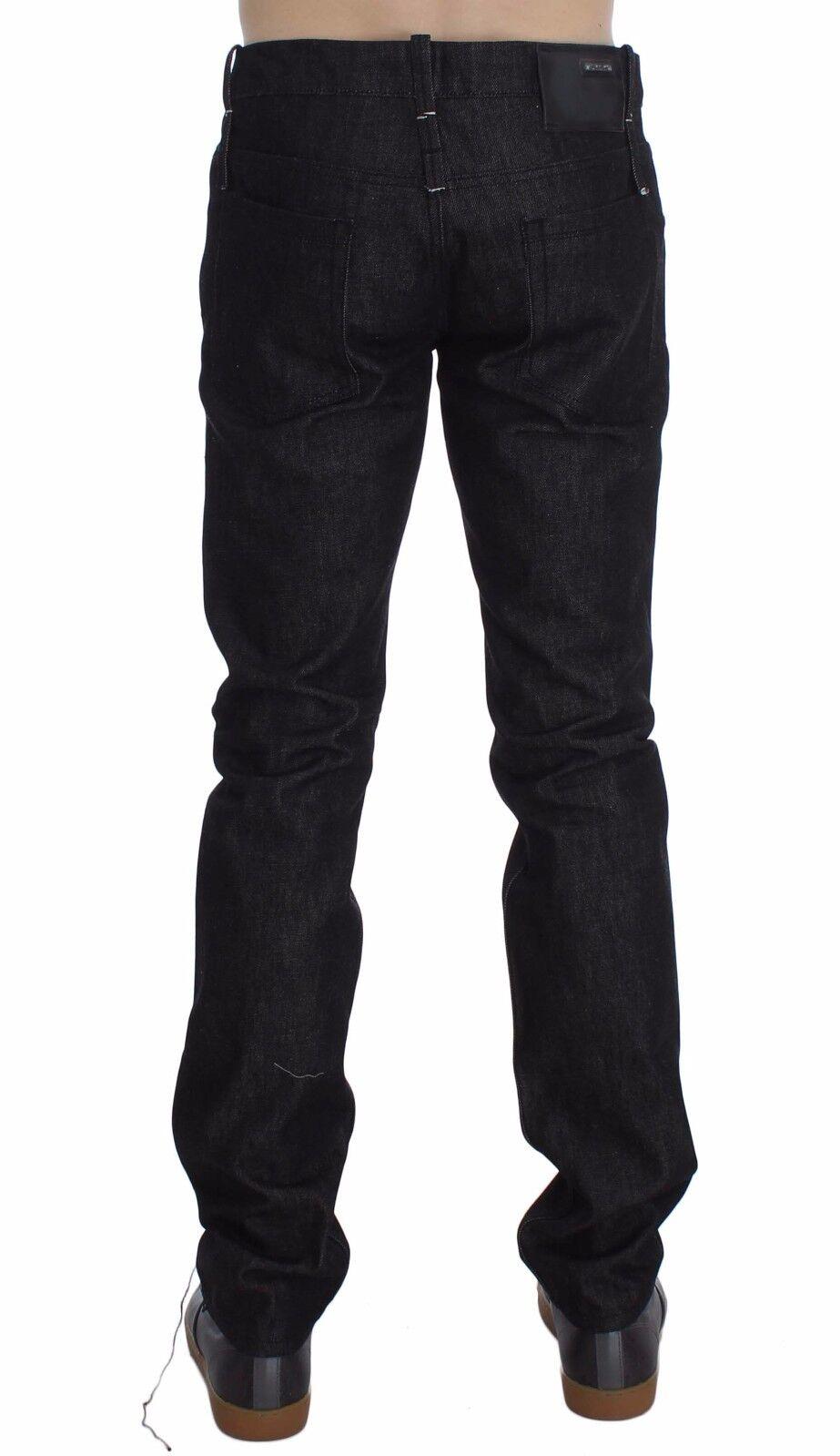 dfc67a3c66 Nuovo Acht Jeans Cotone Nera Slim Skinny Pantaloni Aderenti Aderenti ...