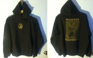Pull-On-Sweat-Shirt-Hoodie-L-Polynesia-Gildan-Manav-Brown-Grey-Green-Dance-Sport