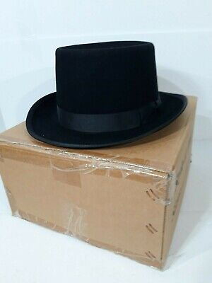 100% Lana Grande Cilindro Steampunk Cappello Stile Aviatore Smoking Vittoriano
