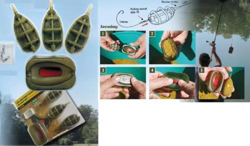 Behr Method Feeder Komplettset Grün Futterkörbe Form Wirbel Futter Korb