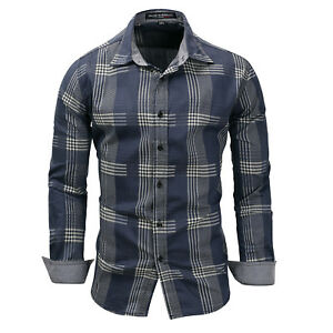 New-Luxury-Check-Cotton-Men-039-s-Casual-Long-Sleeve-Dress-Shirts-XT407