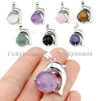Silvery Metal Dolphin Animal Wrap Quartz Gems Agate Bead Pendant fit Necklace
