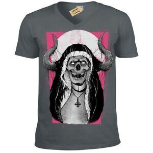 Devil-Nun-T-Shirt-evil-skull-demon-gothic-horror-Mens-V-Neck