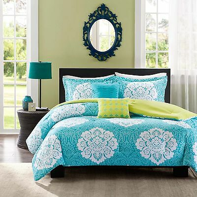 BEAUTIFUL MODERN TEAL AQUA BLUE GREEN GREY YELLOW COMFORTER SET FULL QUEEN TWIN
