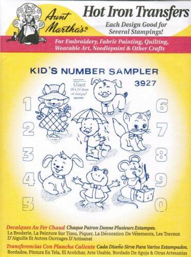Kid/'s Number Sampler Aunt Martha/'s Hot Iron on Transfer #3927